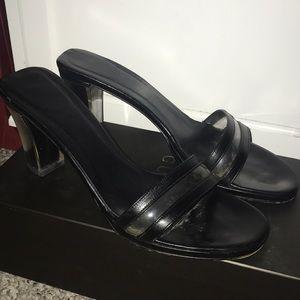 Black open toe Gucci heels